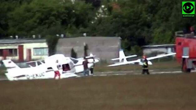 Lądowali bez koła, wybiegli z samolotu w kilka sekund. Nagranie