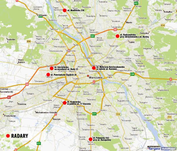 Tu staną fotoradary targeo.pl / tvnwarszawa.pl