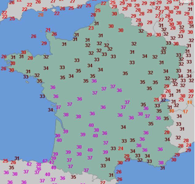 Temperatura maksymalna 30 lipca (wetteronline.de)