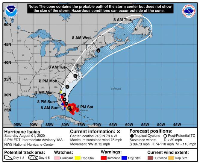 Prognozowana trasa huraganu Isaias (NHC, NOAA)