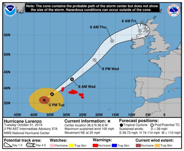 Prognozowana trasa huraganu Lorenzo (stan na wtorek, godzina 20) (NWS)